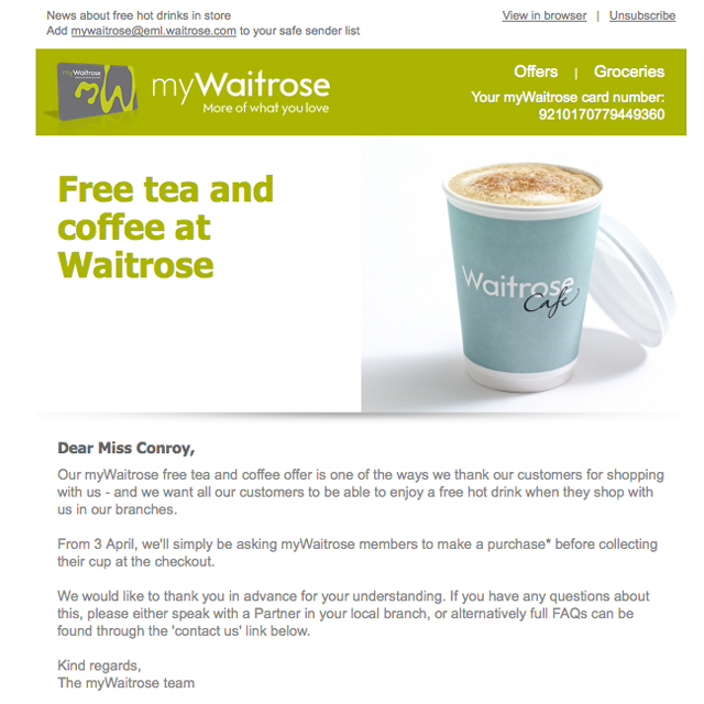 waitrose free coffee policy is changing here 39 s why. Black Bedroom Furniture Sets. Home Design Ideas