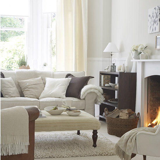 White Living Room: Living Room Interior Design Ideas Using Grey And Stone