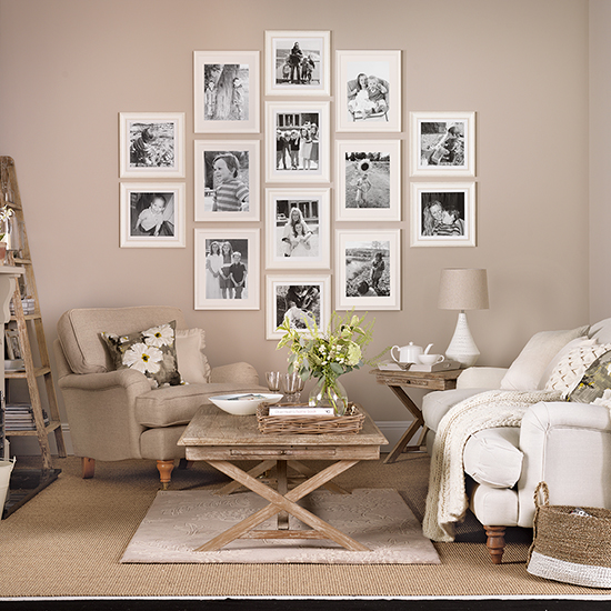 Neutral Living Room: Creative Ways To Hang Photos