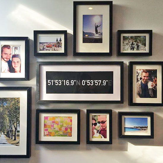 Creative ways to display travel photos and tokens at home for Travel gallery wall ideas