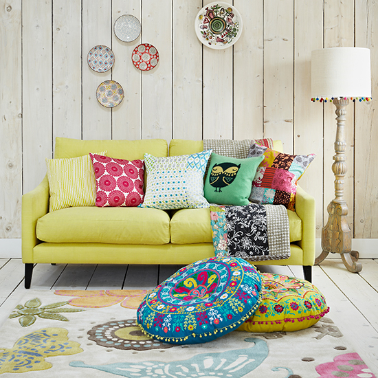 07 living room with yellow sofa ornat floor lamp and bright cushions country homes  interiors housetohome.co.uk