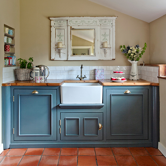 7 things you need for a shabby chic kitchen : 03 Blue kitchen units with butler sink and vintage mirror Country Homes Interiors Housetohomecouk from www.housetohome.co.uk size 550 x 550 jpeg 246kB