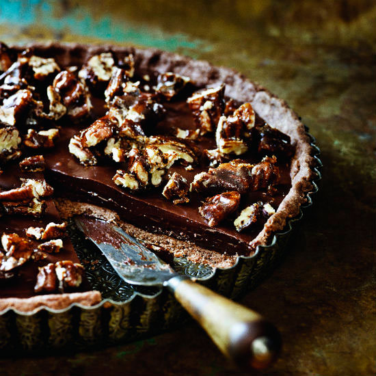 paul a young s sea salted chocolate and pecan tart