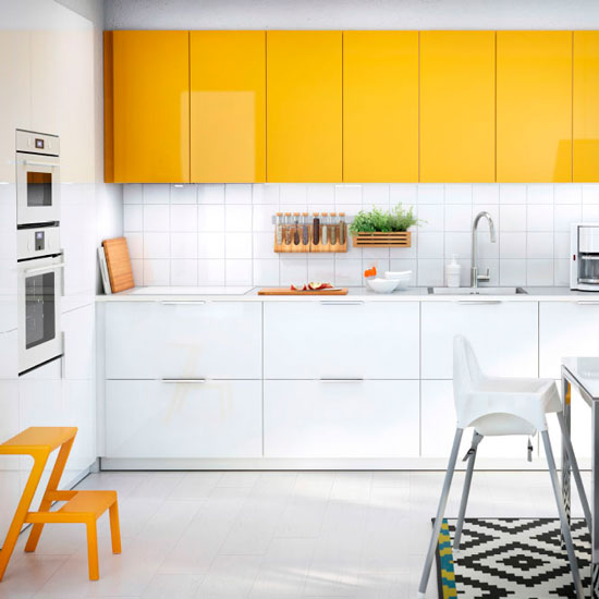 Ikea Yellow Kitchen Cabinets: Ways To Add Colour To An All White Kitchen